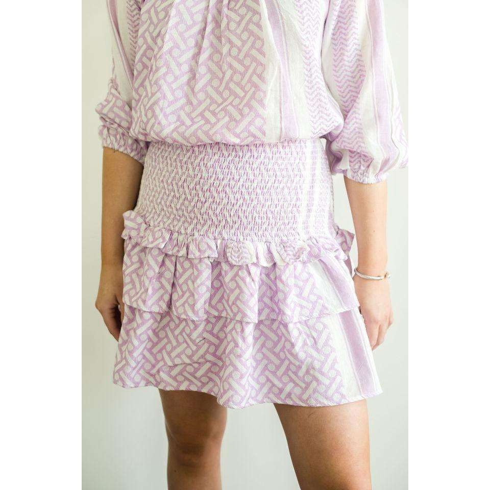 Debra Elastic Waist Smocked Tiered Skirt in Lavender