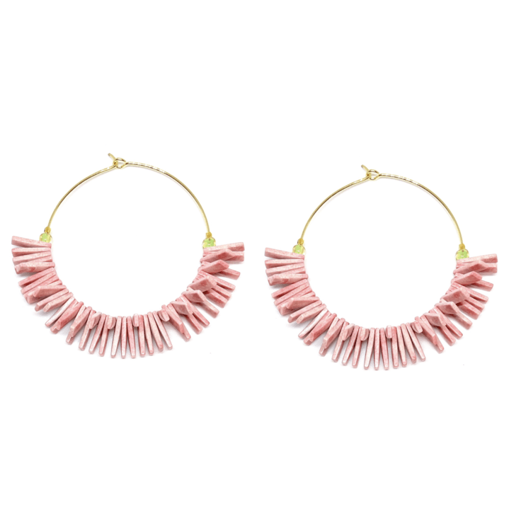 Skinny Gold Hoop Earrings with Pink Fringe Beads