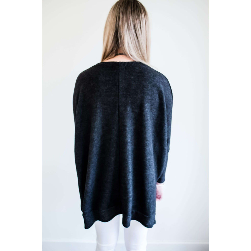 Long Sleeve Brushed Swing Top with Side Slits in Charcoal