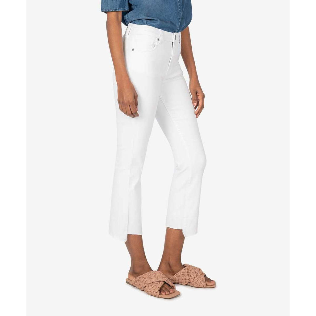 KUT Denim Kelsey High Rise Ankle Crop Flare in Optic White
