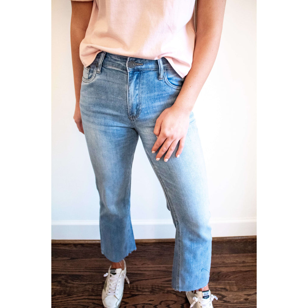 KUT From The Kloth Kelsey High Rise Ankle Flare Jeanin Dignified Wash