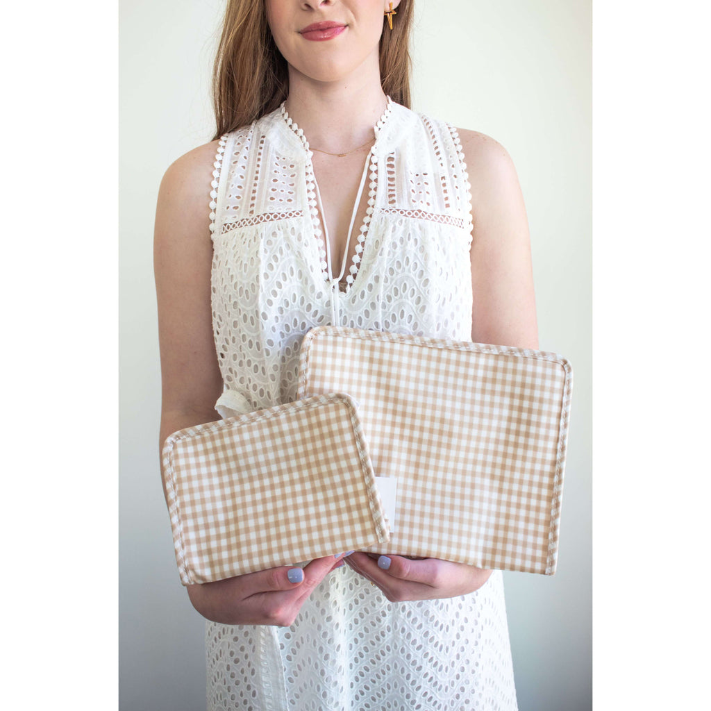 Large Roadie Zip Up Bag in Khaki Gingham