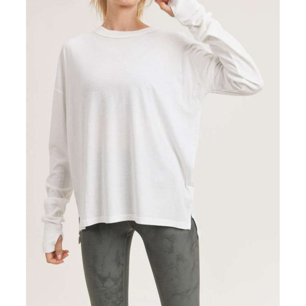 Long Sleeve Notched Side Mineral Wash Super Soft Tee in White