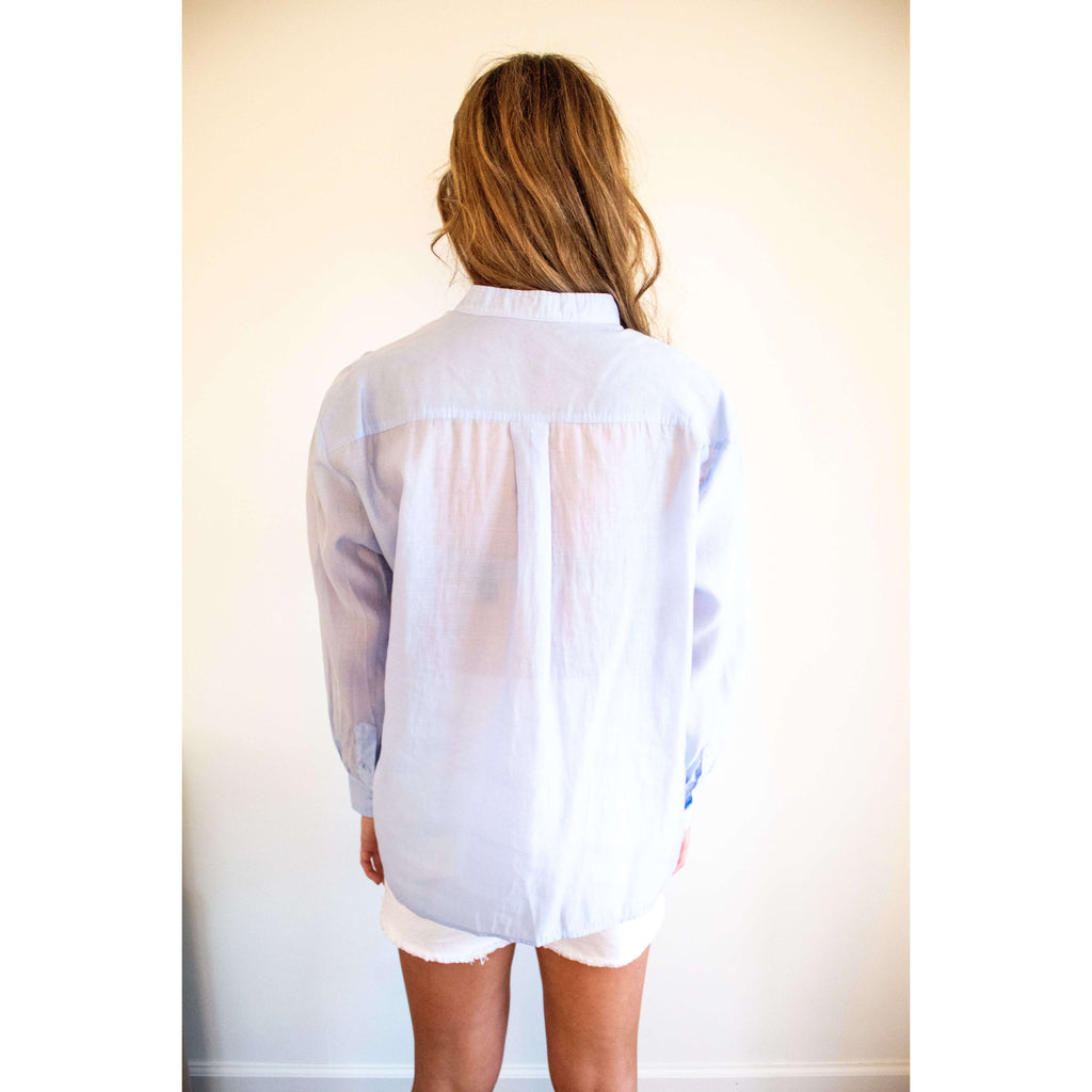 Long Sleeve Woven Button Down Top in Light Blue