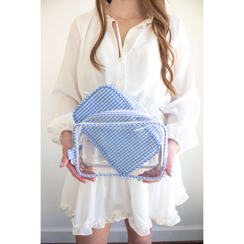 Clear 2-in-1 Duo Bag in Blue Gingham
