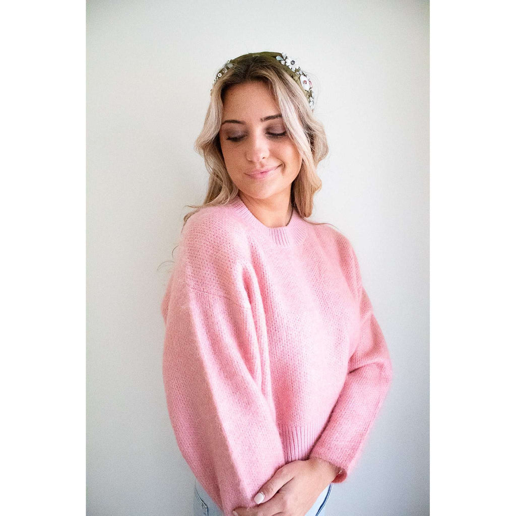Barrio Long Sleeve Sweater in Bubblegum Pink