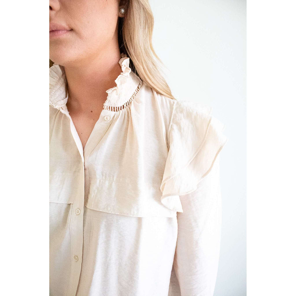 Button Front Ruffle Shoulder Detail Top in Oatmeal