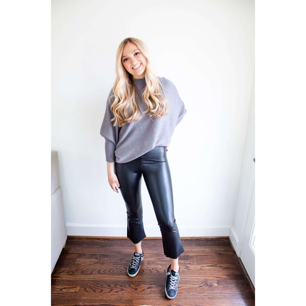 Faux Leather Crop Flare Leggings in Black