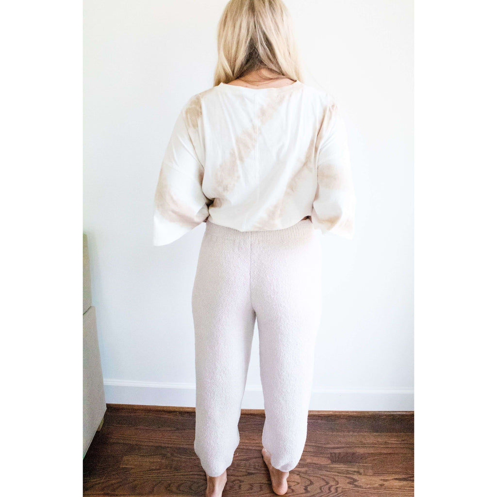 Fuzzy Sweater Jogger Pants in Oatmeal