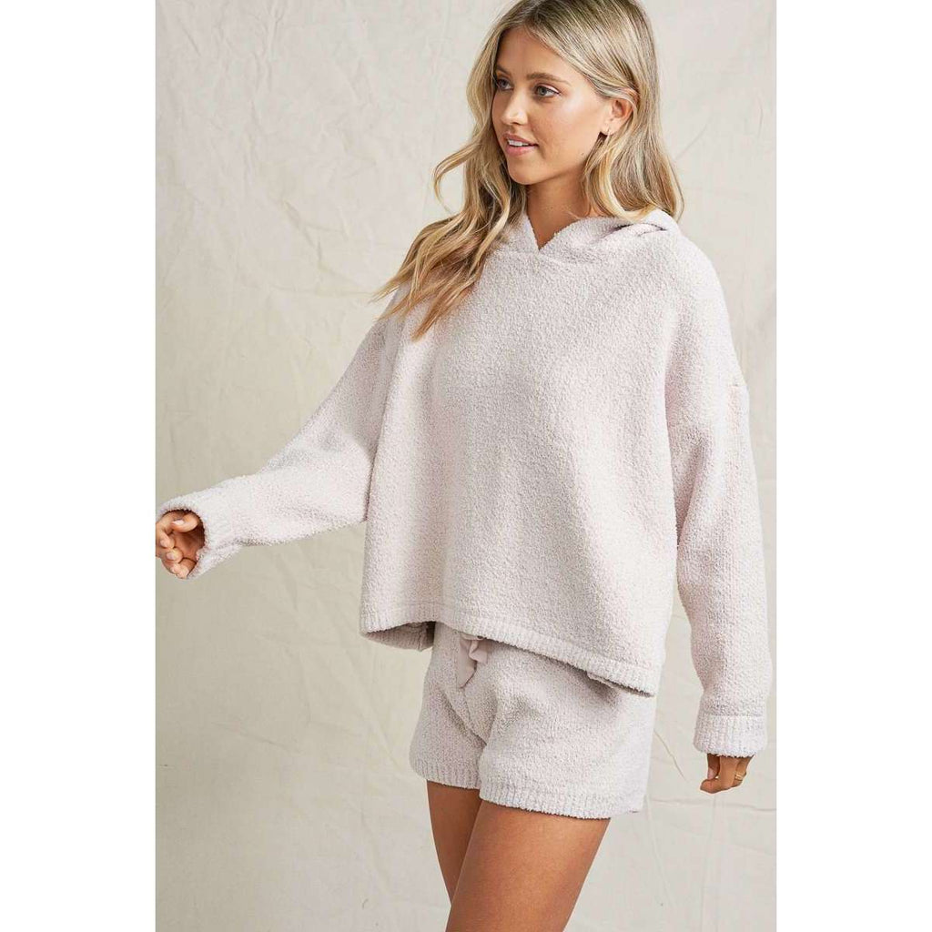 Fuzzy Sweater Lounge Shorts in Oatmeal