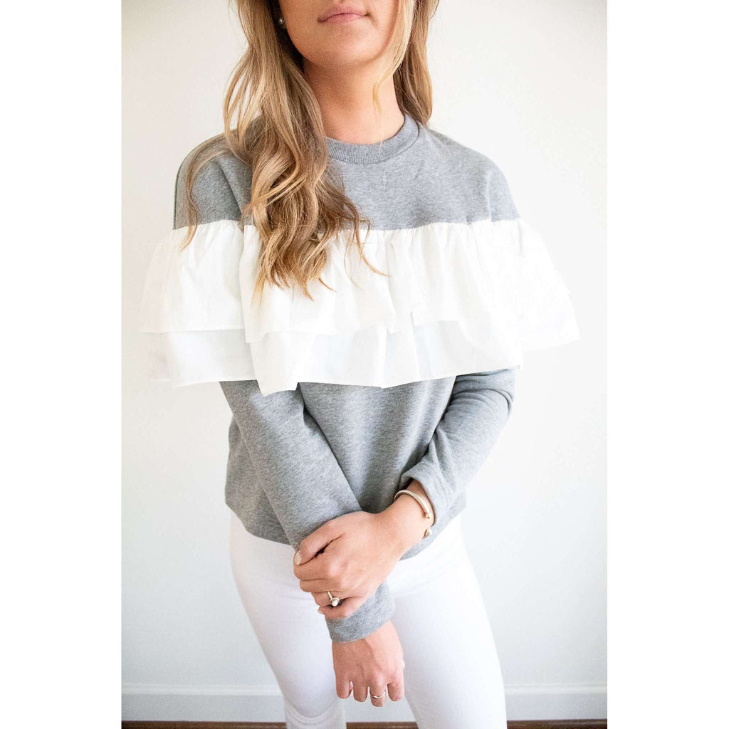 Grey Sweatshirt with White Ruffle Detail