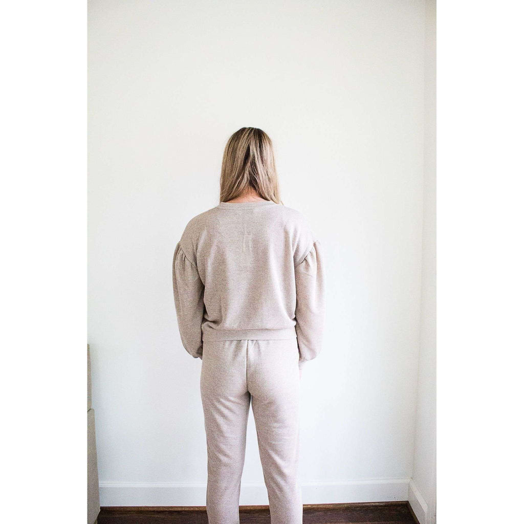 Juno Jogger Sweatpant in Heather Oatmeal and Rose Gold Thread