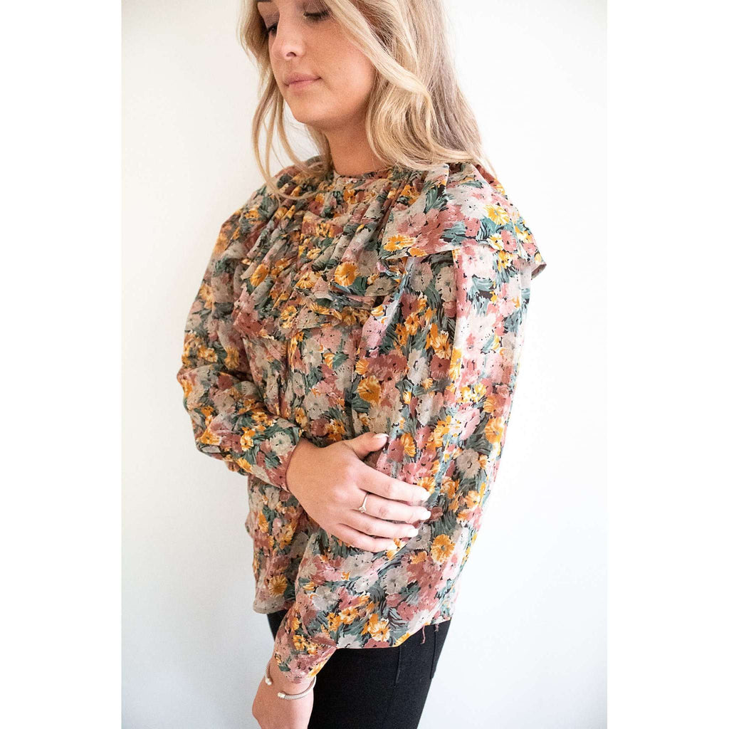 Long Sleeve Floral Ruffle Blouse in Multi