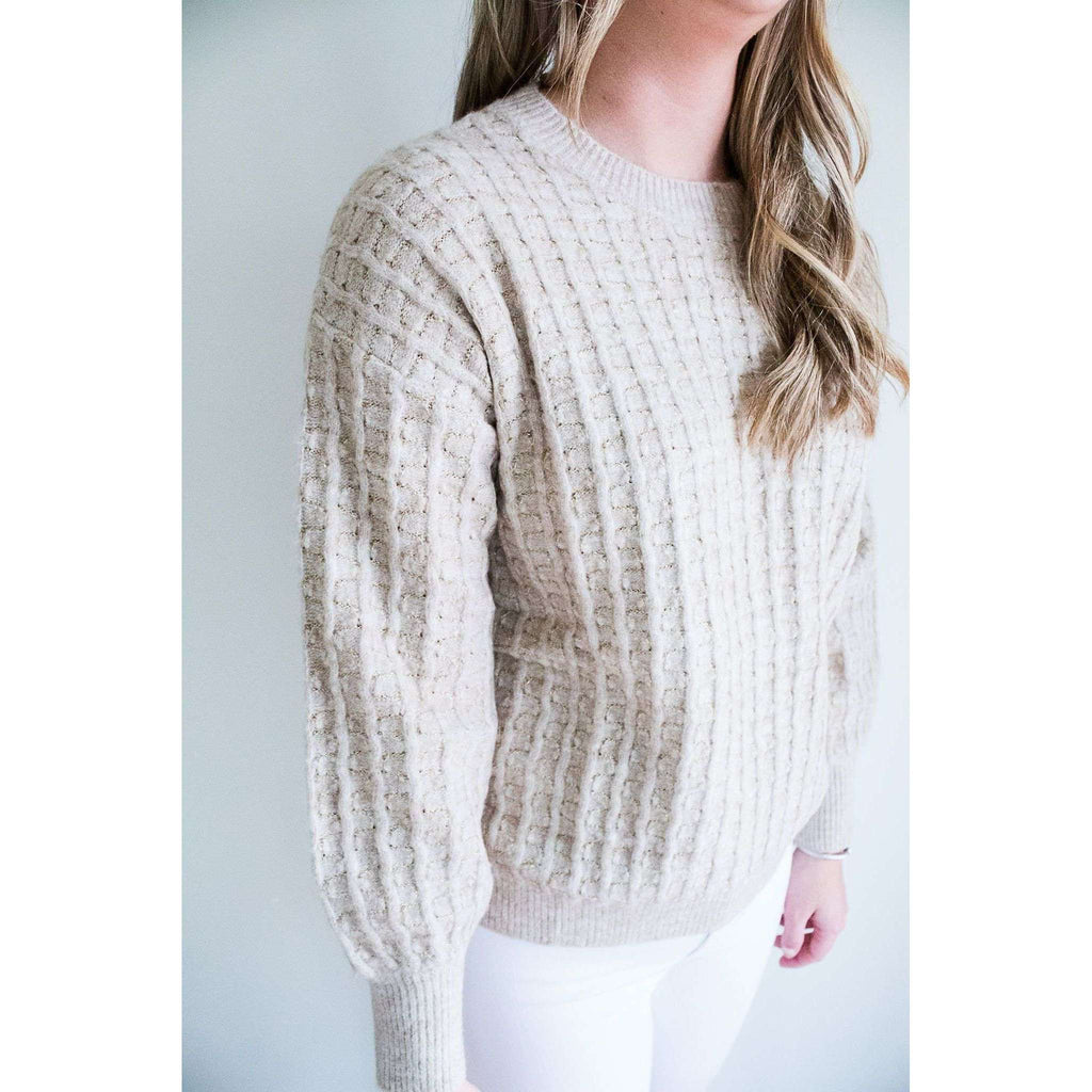 Long Sleeve Knit Cable Sweater in Beige with Gold Thread
