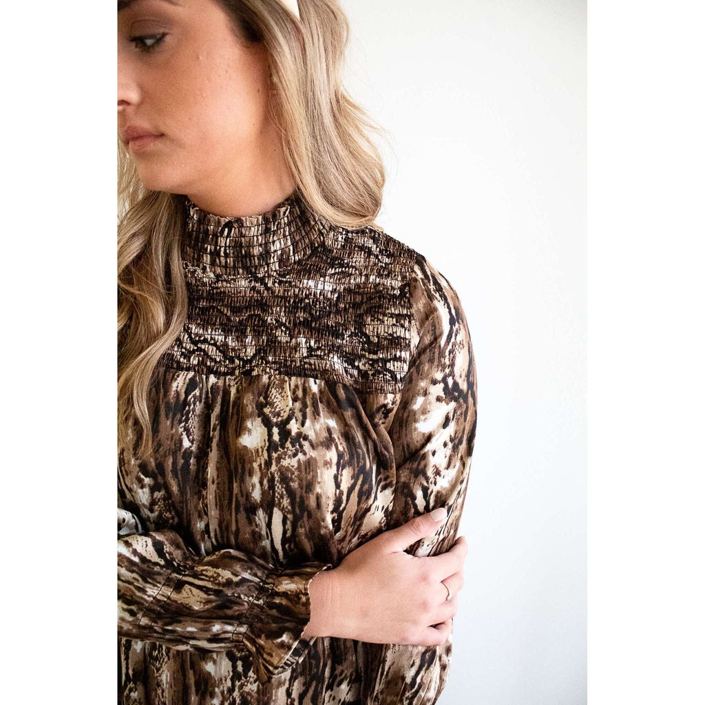 Long Sleeve Smocked Front Dress in Brown/ Black Snake