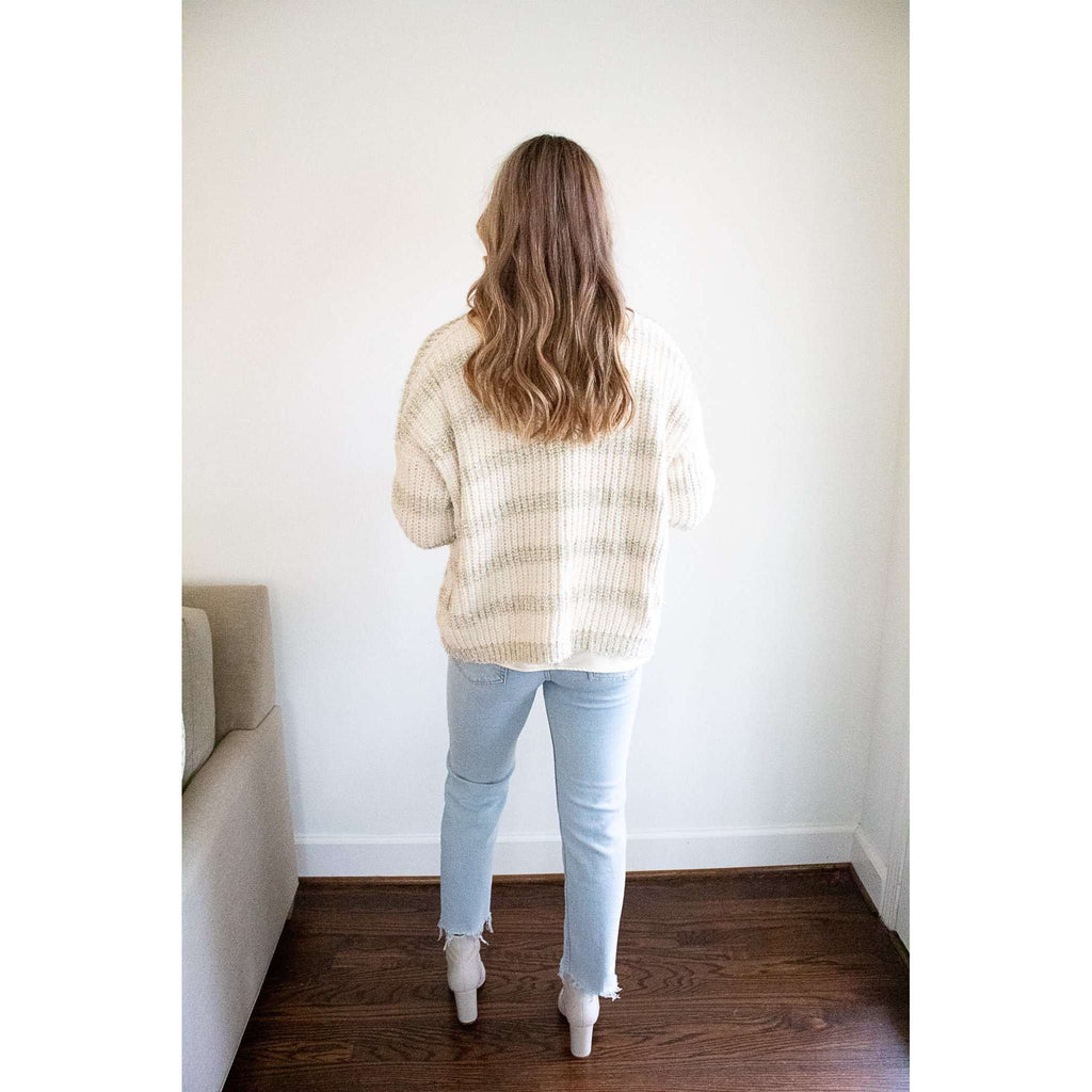 Metallic Striped Knit Cardigan in Gold/Ivory