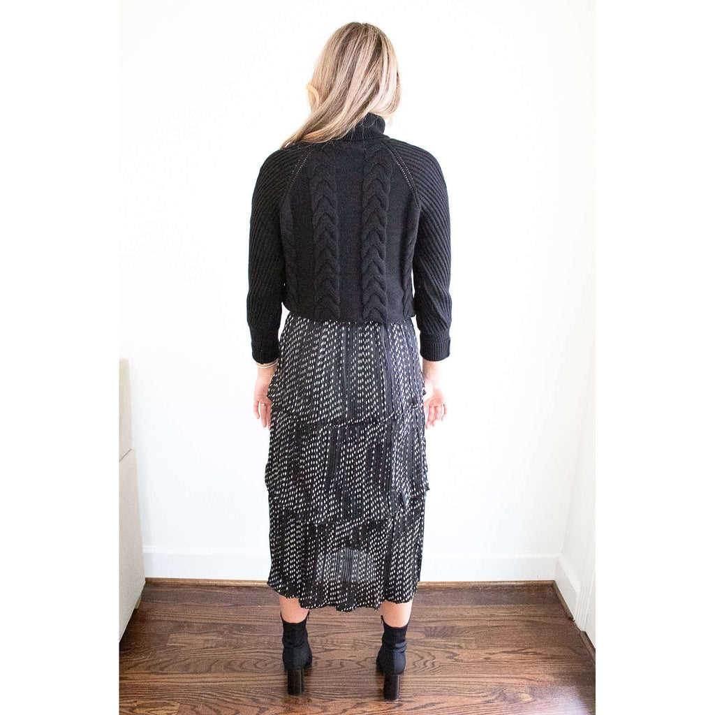 Pleated Ruffle Tier Skirt in Black White Dot
