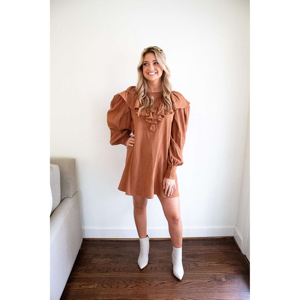 Ruffle Front and Back Puff Sleeve Mini Dress in Chestnut
