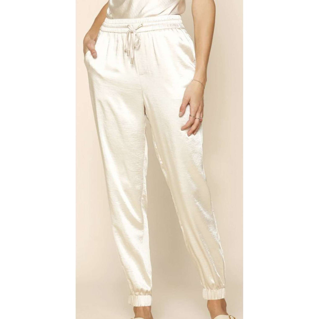 Satin Drawstring Jogger Pants in Cream