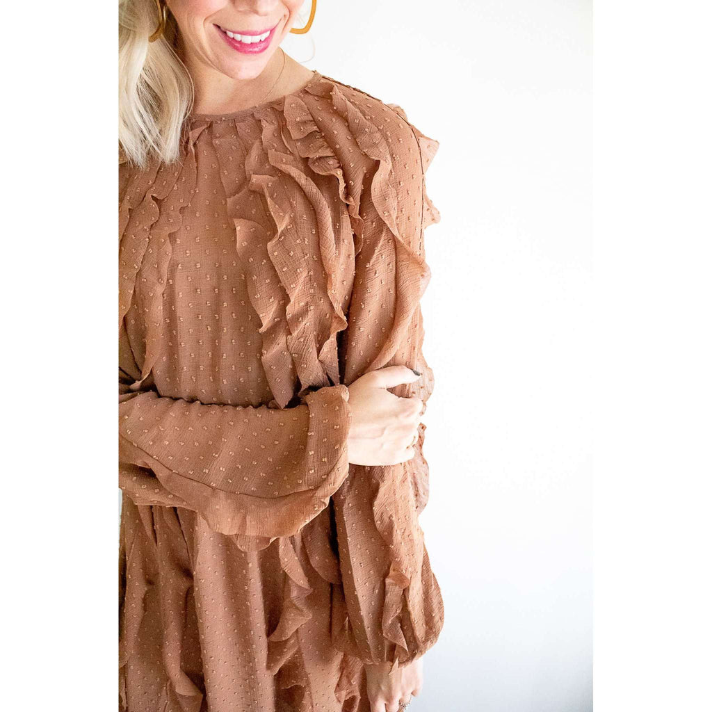Stevia Long Sleeve Swiss Dot Ruffle Maxi Dress in Chestnut