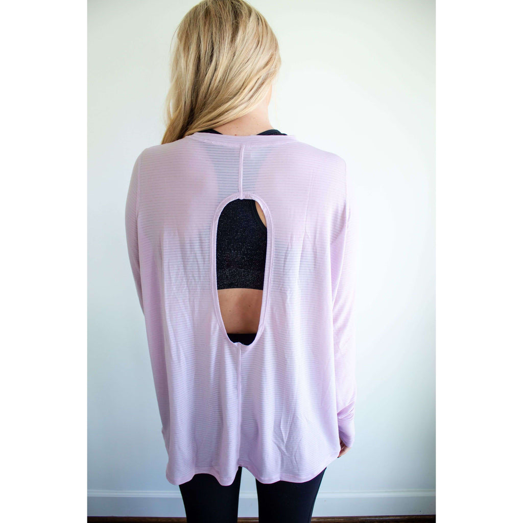 Striped Mesh Longline Top with Cut Out Back in Lavender