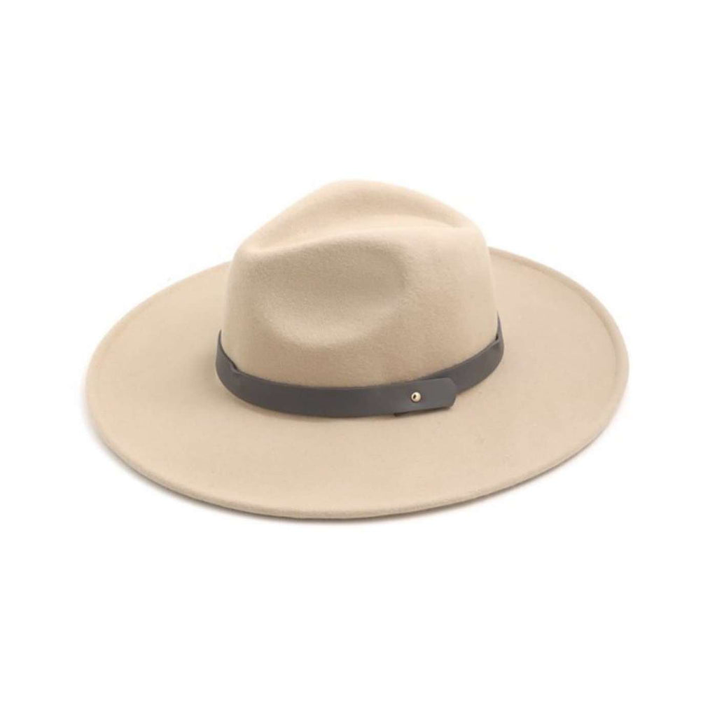 Wool Felt Flat Brim Fedora Hat in Beige/Grey