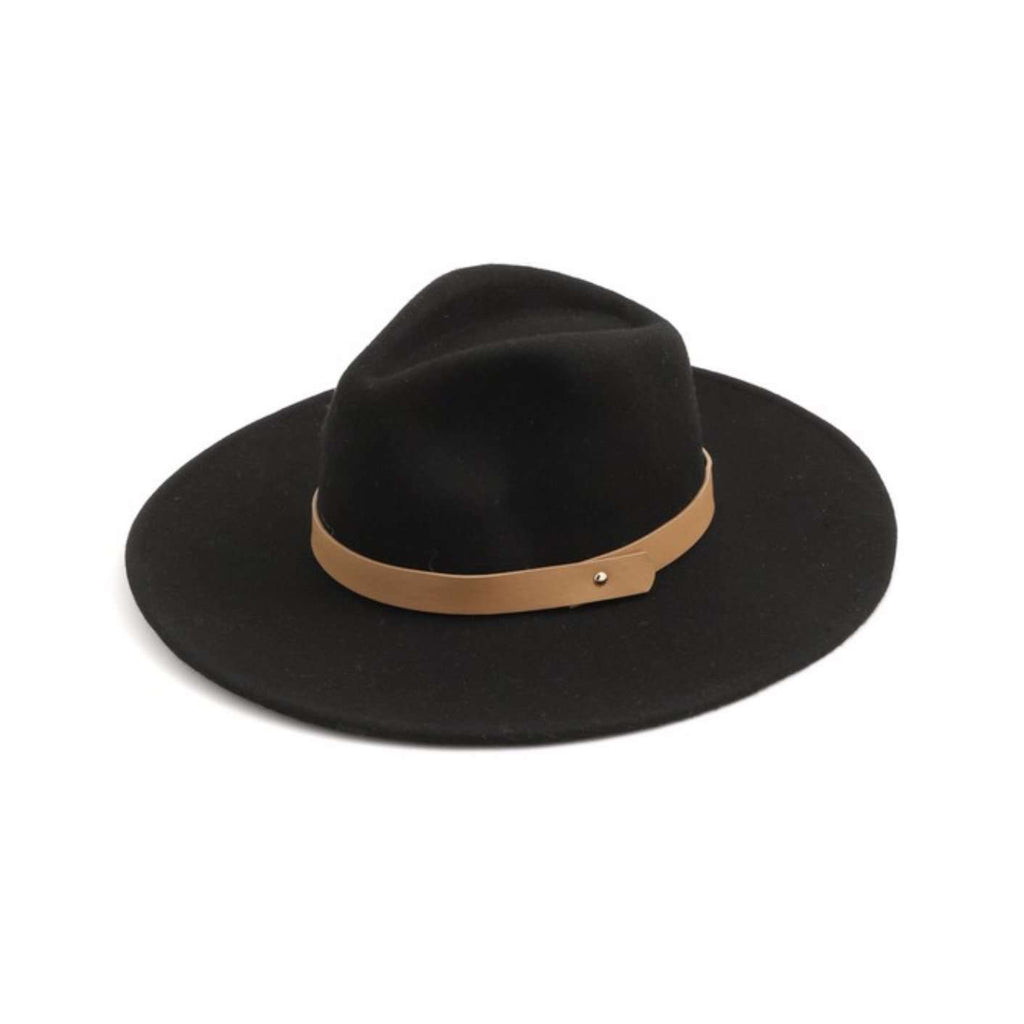 Wool Felt Flat Brim Fedora Hat in Black/Camel
