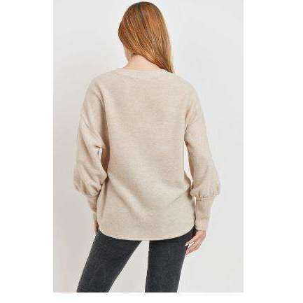 Long Sleeve Brushed Knit Top in Oatmeal