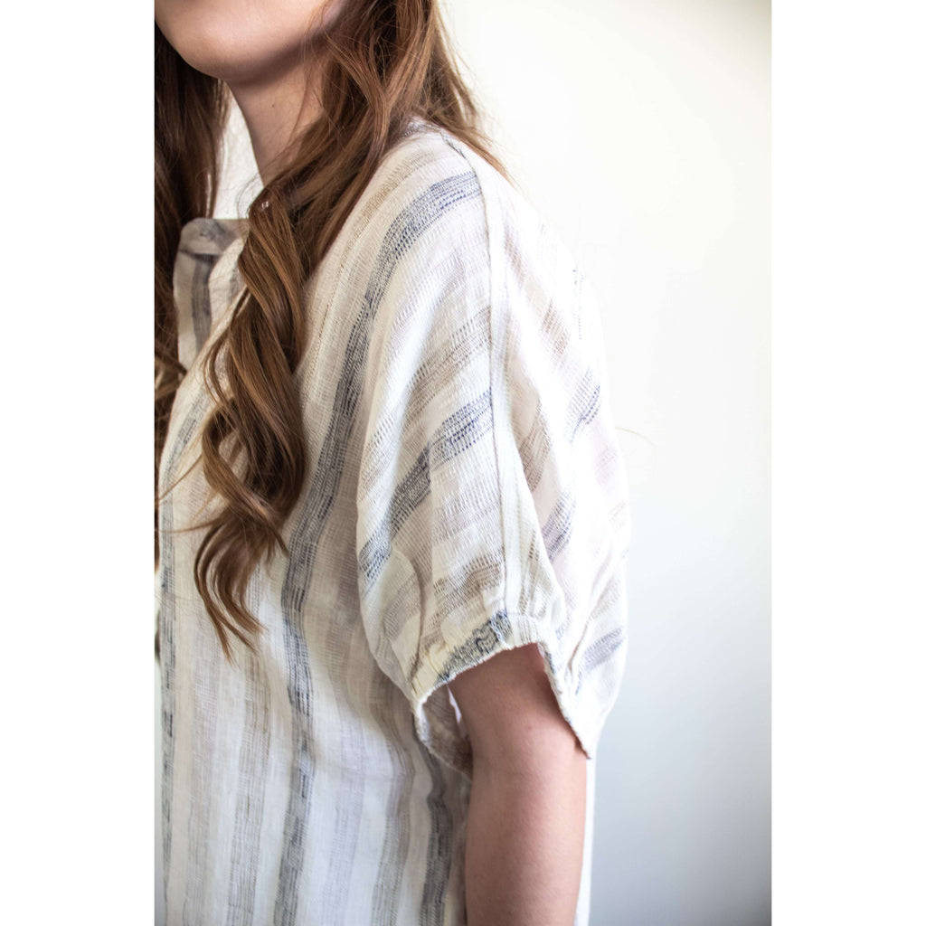 Oversized Striped Linen Top with Button Side in Cream/Navy