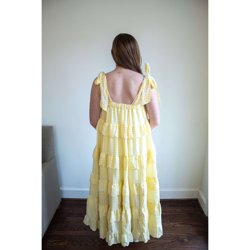 Plaid Ruffle Tier Gingham Midi Dress in Sunny Yellow