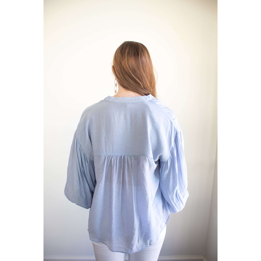 Puff Sleeve Button Down Shirt in Baby Blue