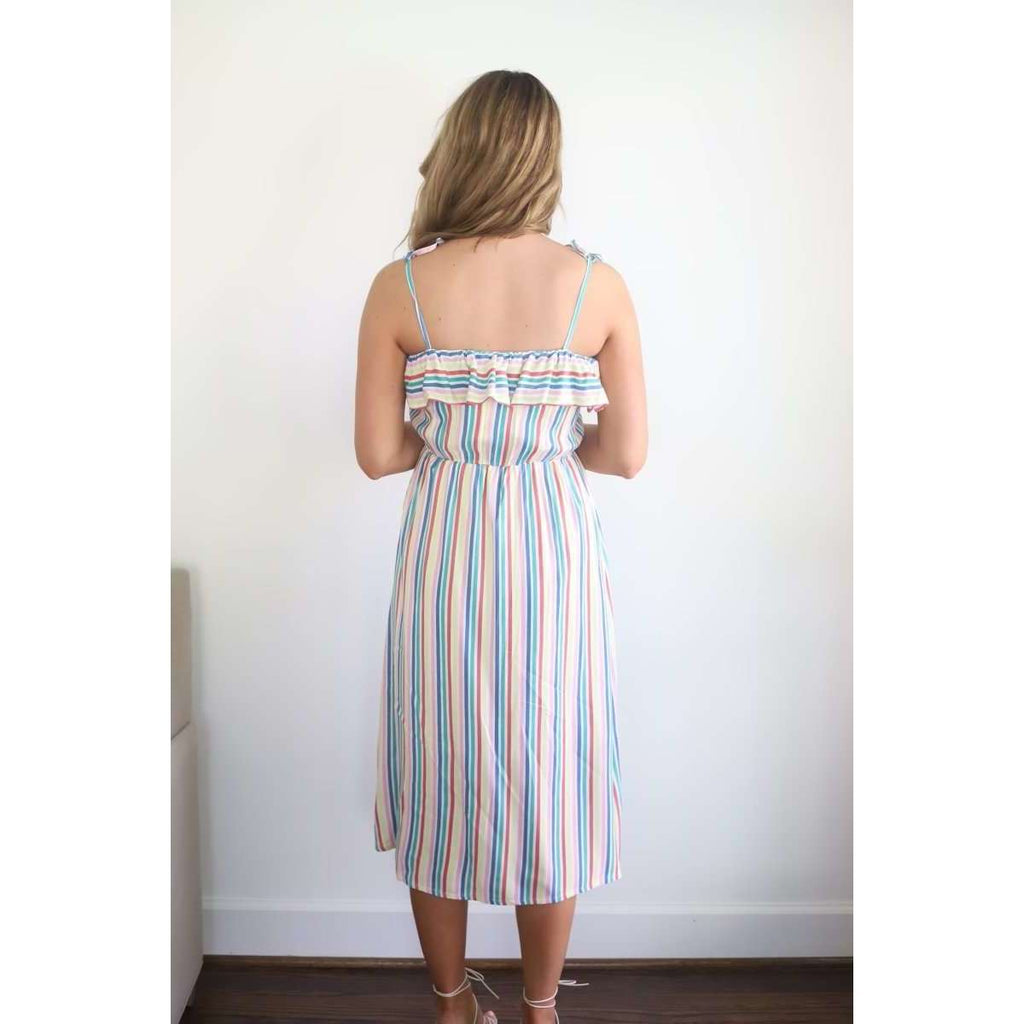 Ruffle Flutter Front Midi Dress in Pink Rainbow Stripe