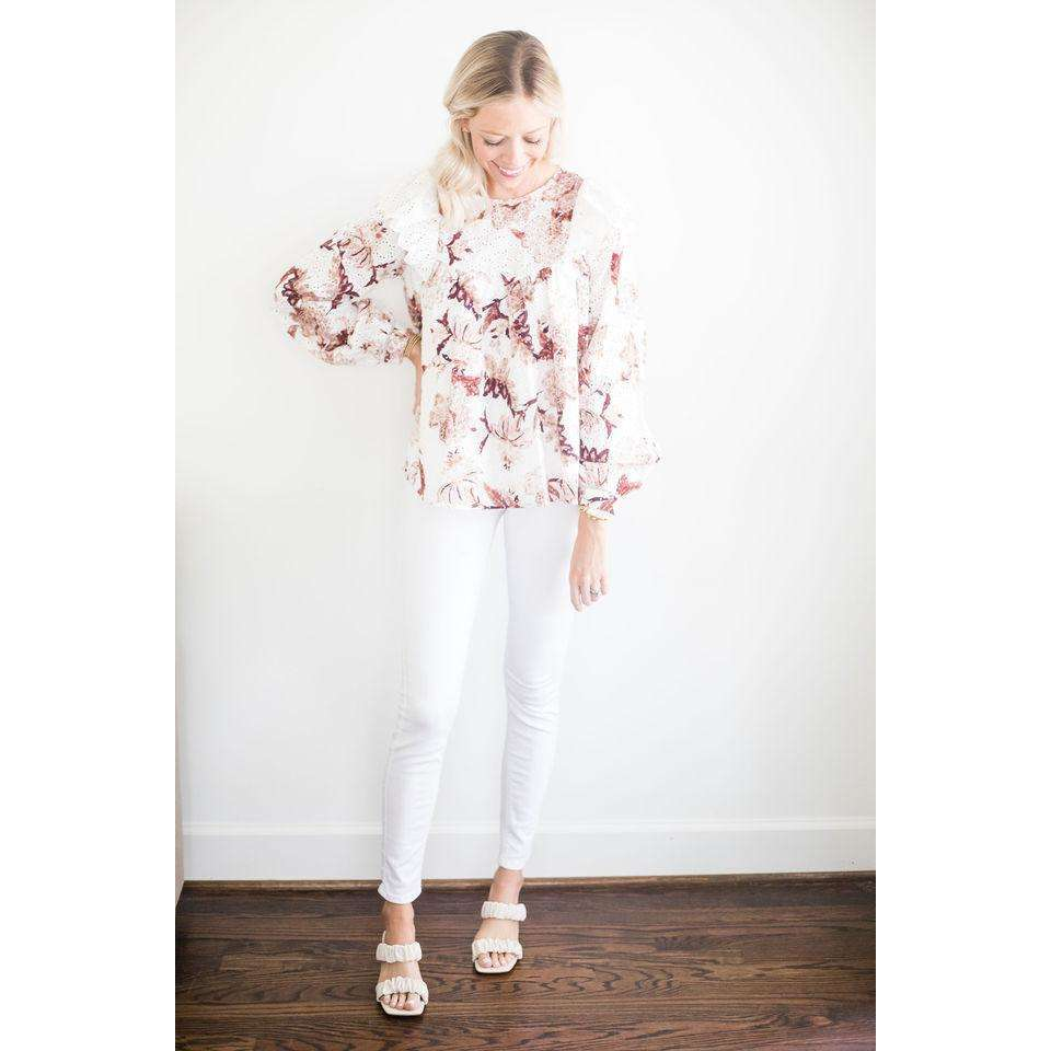 Ruffle Tiered Eyelet Top in White/Natural Floral Print