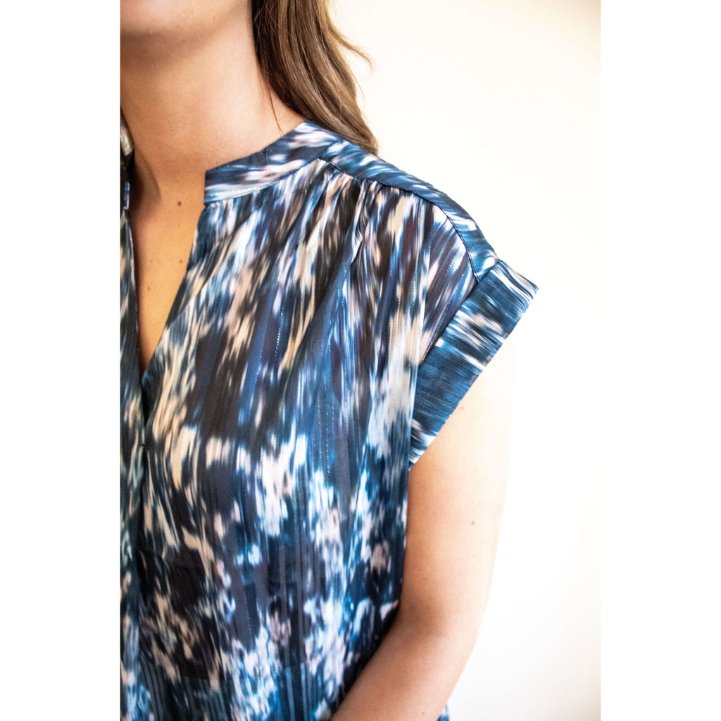 Sleeveless Dye Top with Gold Metallic Thread in Midnight Blue Print