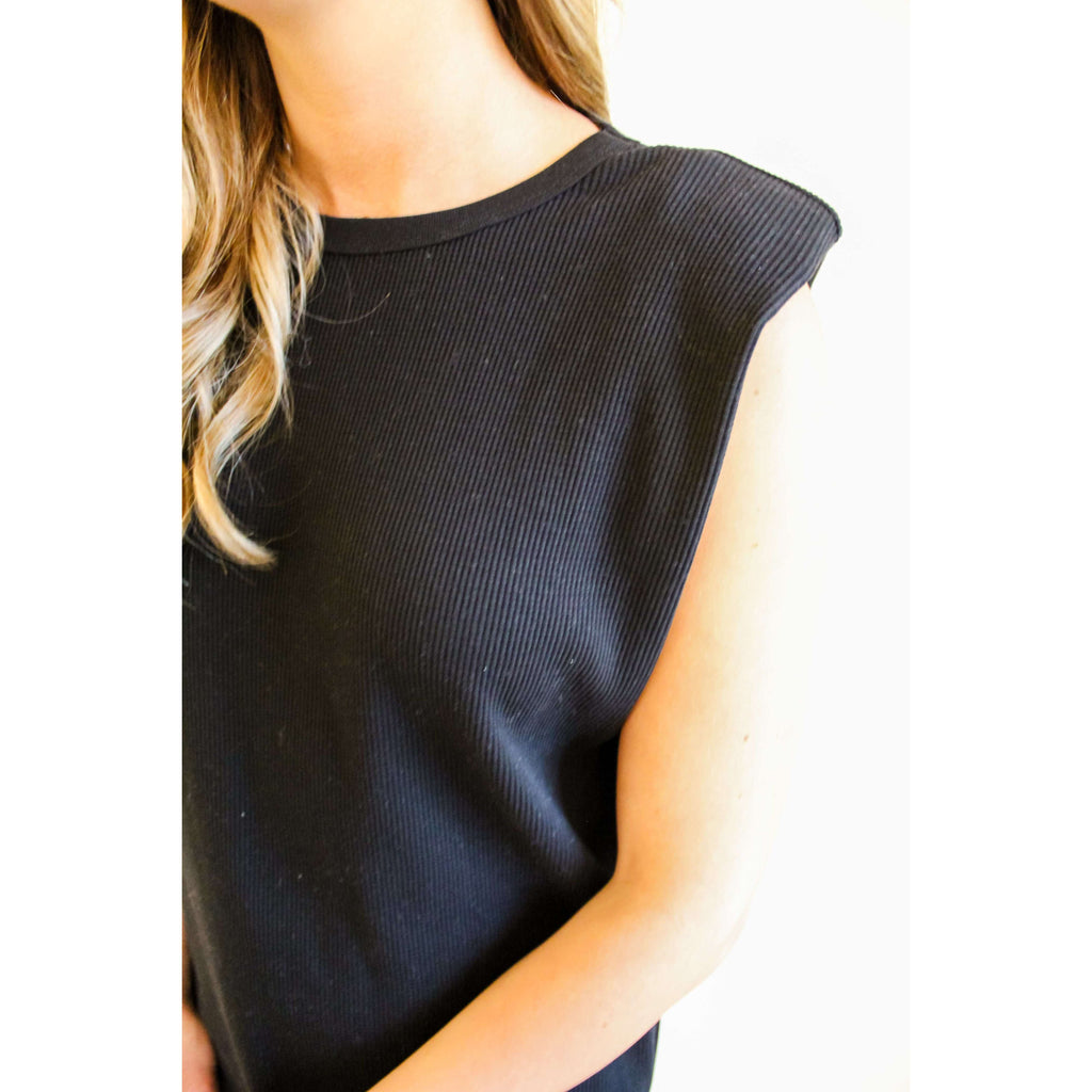 Sleeveless Waffle Knit Shoulder Pad Dress in Black