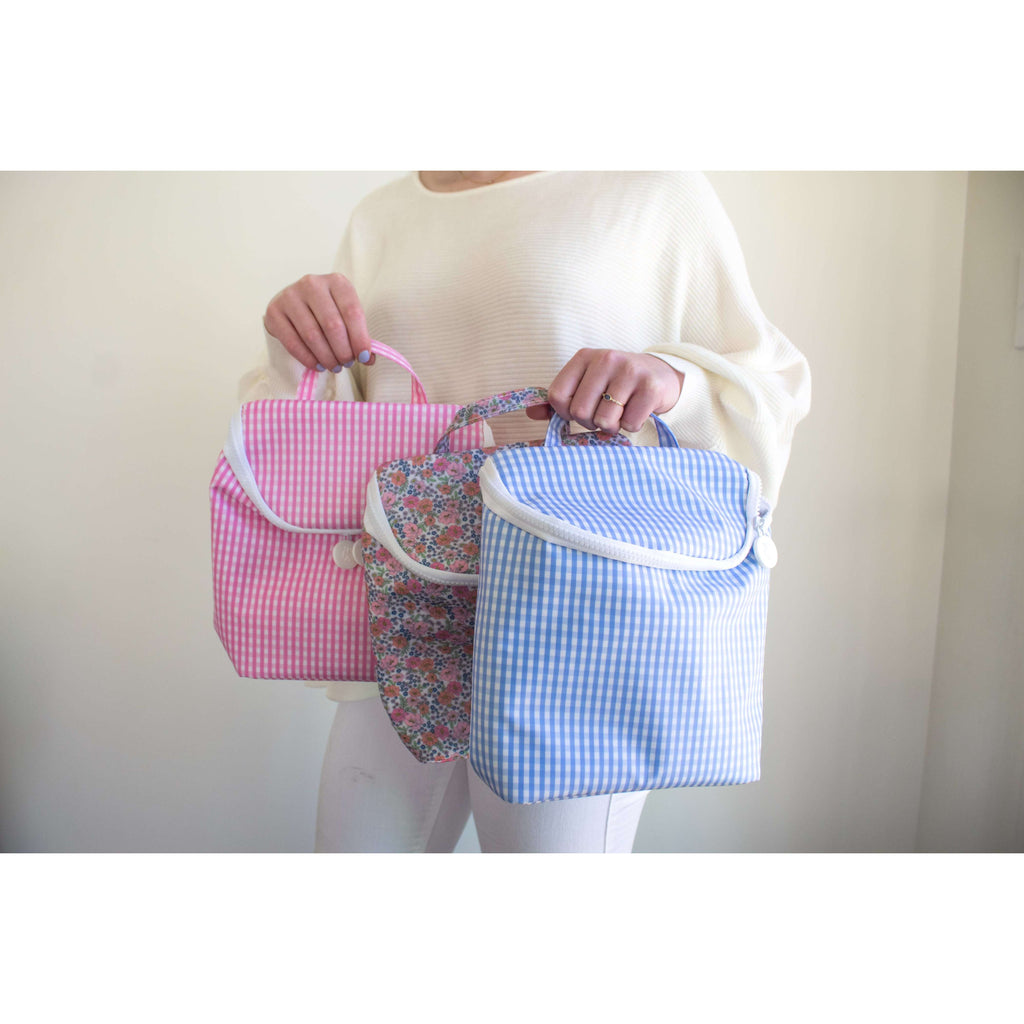 Take Away Insulated Lunch/ Bottle/ Beverage Bag in Pink Gingham