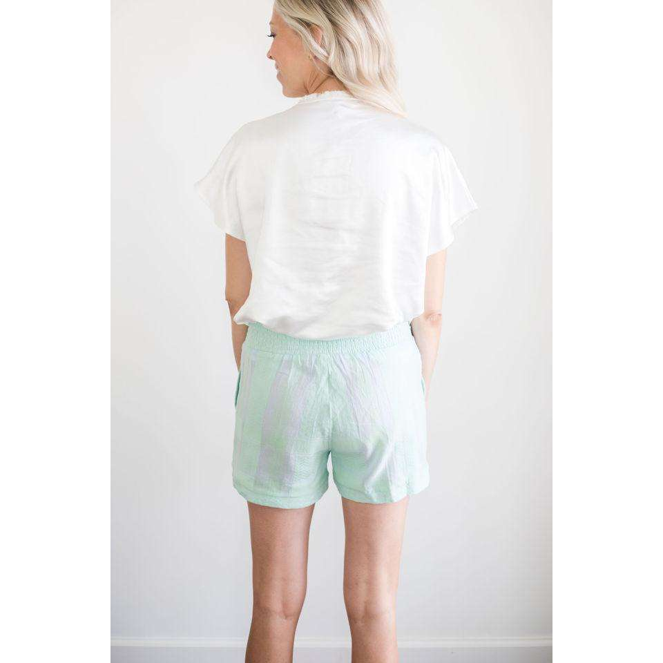 Teresa Elastic Smocked Top Shorts in Sea Green and Baby Blue