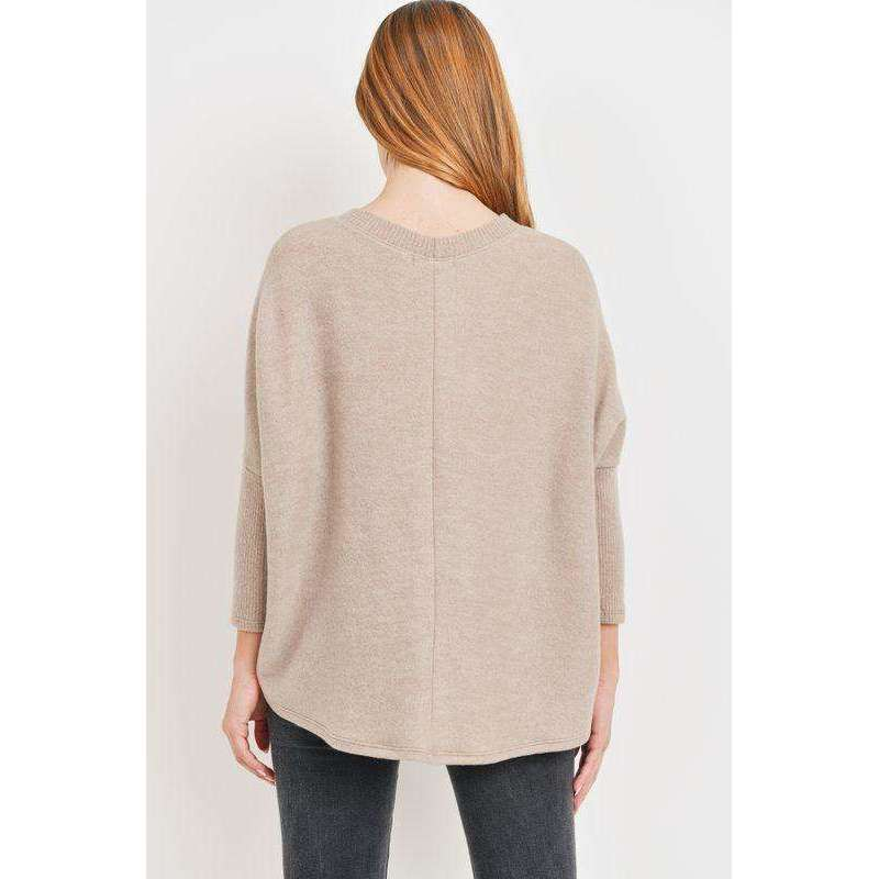 3/4 Ribbed Sleeve Oversized Brushed Top in Taupe