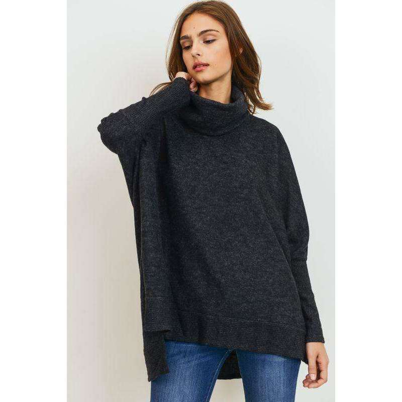 Turtleneck High Low Swing Tunic Top in Charcoal