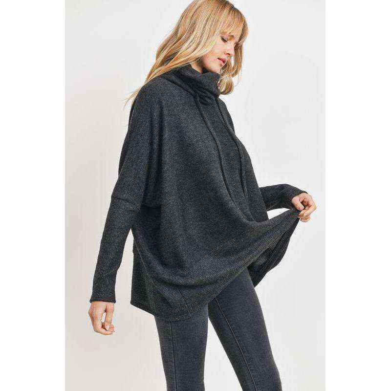 Drawstring Turtleneck Oversized Top in Charcoal
