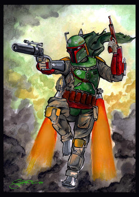 Scoots Art: Boba Fett Water Color 11x17 Print