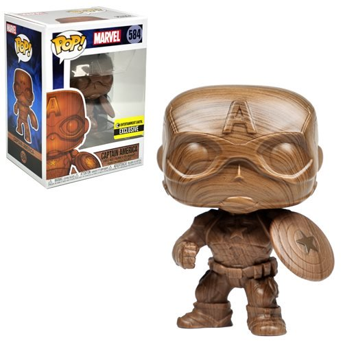 POP! Marvel: 584 Captain America, Wood Deco EE Exclusive