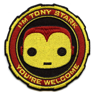 "POP! Patch: Marvel, ""I'm Tony Stark..."" (Iron Man) (Embroidered) Iron-On Patch (3-Inch x 3-Inch)"
