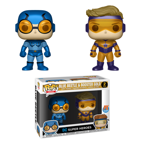 POP! Heroes: 2 Pack DC Super Heroes, Blue Beetle & Booster Gold Metallic PX
