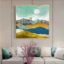 Painted Xuanguan decorative painting modern simple abstract dining room corridor hanging painting sunrise square living room sofa wall painting