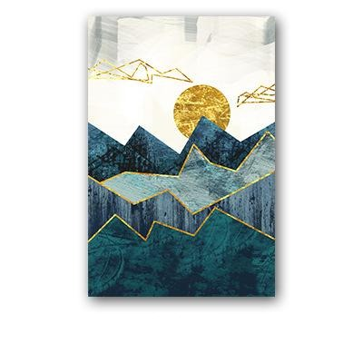 Abstract Geometric Landscape Canvas