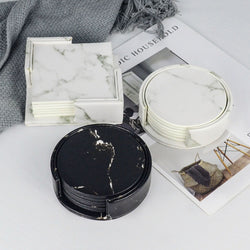 6PCS PU Leather Marble Coaster Set