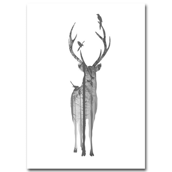 Deer Feather Art Canvas