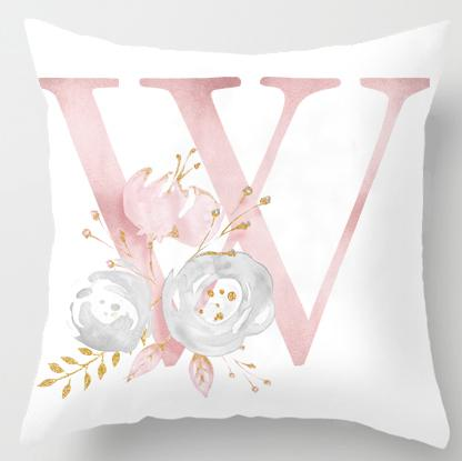 Letter Plush Fabric Cushion Cover