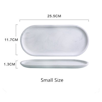 White Marble Ceramics Tray